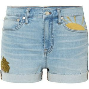 NWOT Madewell EMBROIDERED High Rise Denim Shorts
